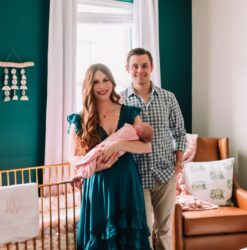 Kelsey, who had polycystic ovary syndrome, holding Harper, with husband, Tom, and their dog Tucker | Dallas IVF | Frisco, TX