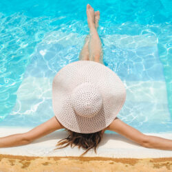 Celebrity mom over 40 relaxing by the pool | Dallas IVF | Frisco & Dallas, TX